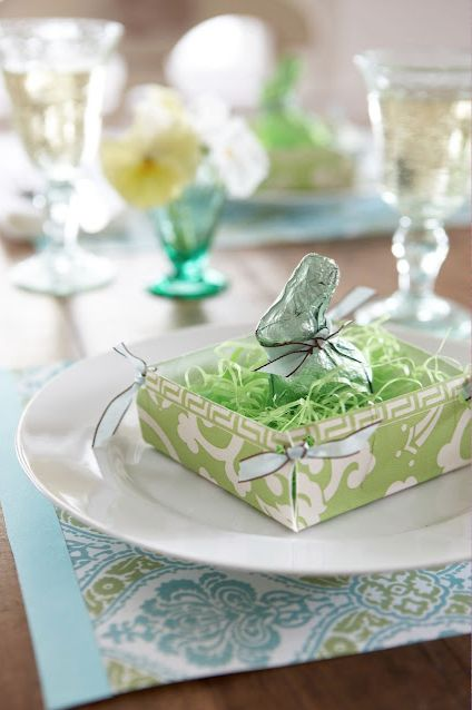 """DIY Easter Basket Place Setting :  These baskets are made from a small decorative round or square 8"""" paper plate."""