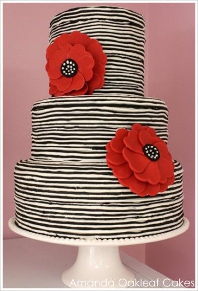 Black and white stripes with Red Poppy Cake
