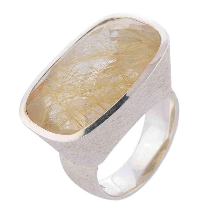 u.hu: Rutilquarz Ring von... UNIQUE - Silber Ring mit Rutilquarz