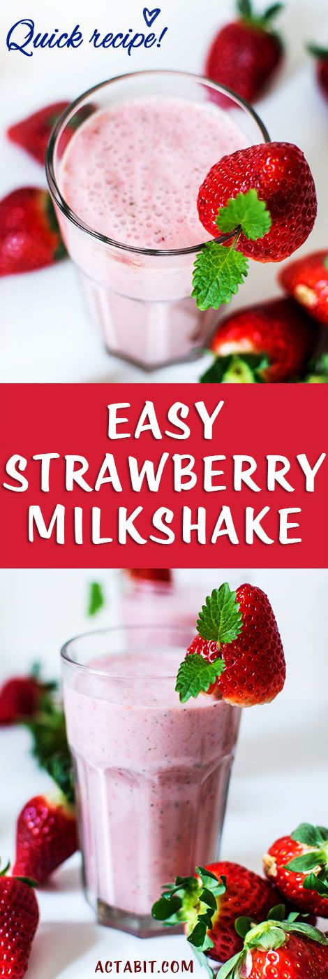 This easy strawberry milkshake recipe keeps it simple with just 3 ingredients: fresh strawberries, ice cream and milk. The strawberry milkshake makes a delicious drink or dessert. This cool and creamy strawberry milkshake is especially enjoyable on a hot summer day, but you can use frozen strawberries to make milkshakes in winter too. Make an easy strawberry milkshake in under a minute.
