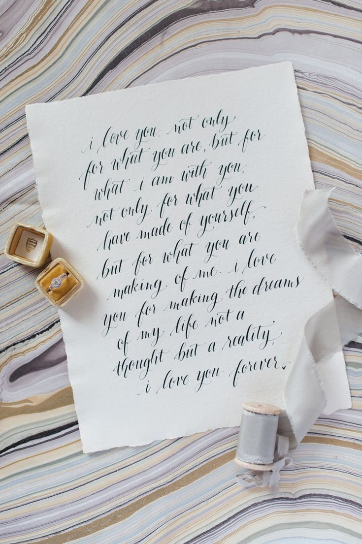 Calligraphy vows and invitations, photos by Shannon Skloss photography Handwriting by Design Roots of Dallas, the Mrs box, wedding vows, custom