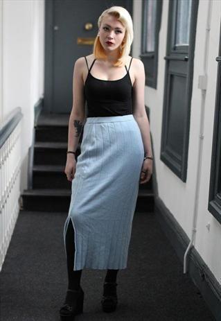 90's Vintage Sky Blue Winter Wooly Midi Skirt