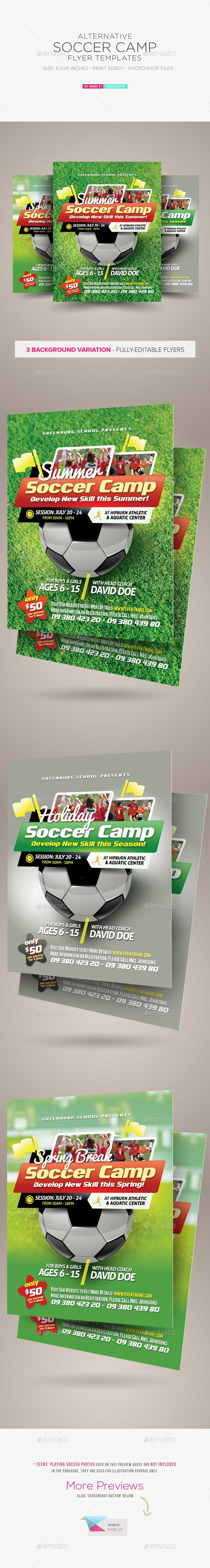 Soccer Camp Flyer Templates — Photoshop PSD #students #ad • Available here → https://graphicriver.net/item/soccer-camp-flyer-templates/11555823?ref=pxcr