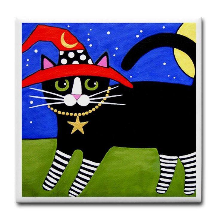 черный смокинг Ведьма CAT ж / Red Hat АРТ плитка Coaster - декоративная плитка