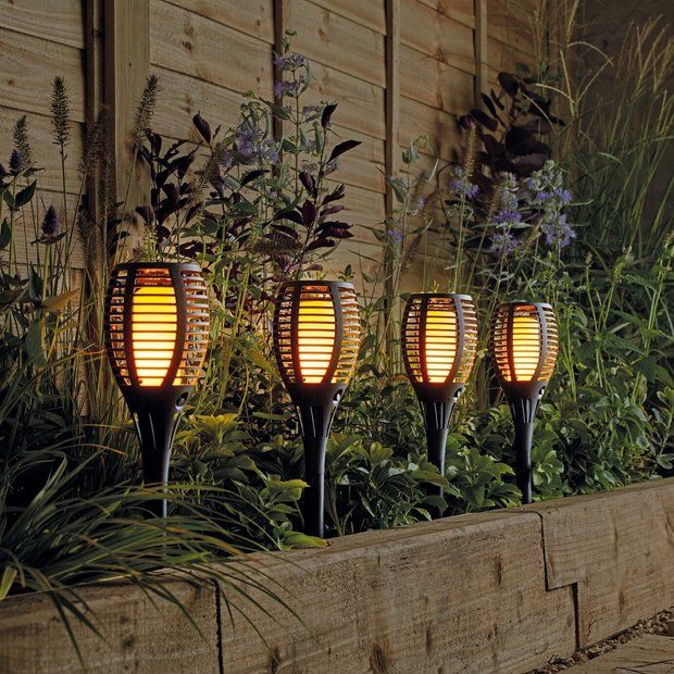Buy Argos Home Solar Dancing Flame Torch 4 Pack Solar