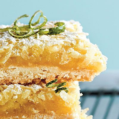 Tequila-Lime-Coconut Macaroon Bars                                       Tequila, lime, and coconut are a tropical trio in this summery dessert. Garnish with powdered sugar and lime rind curls for                                         an impressive finish.