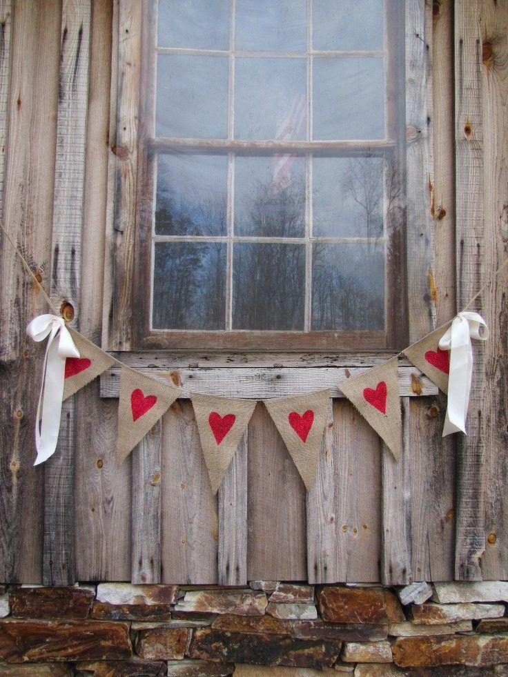 Glittered Hearts Burlap Banner with Ribbon Bows. $32.00, via Etsy.
