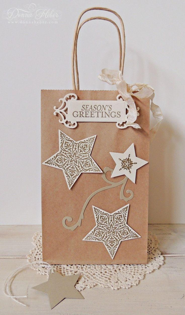 Christmas Gift Bag, Holiday Gift Bag, Star Gift Bag, Kraft Gift Bag, Decorated Gift Bag, Brown Gift Bag, Favor Bag by DesignsbyDonnaHeber on Etsy https://www.etsy.com/listing/473762947/christmas-gift-bag-holiday-gift-bag-star