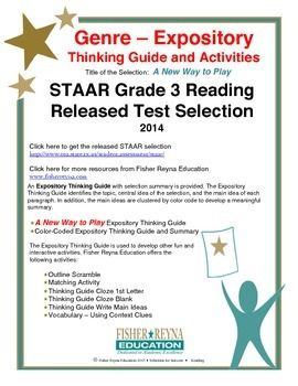 This classroom tested product includes the complete analysis for the STAAR released test selection: A New Way to Play. It is released as a 3rd grade selection, but may serve as a model for how expository text should be analyzed for comprehension. Specific attention to Summarization is provided.