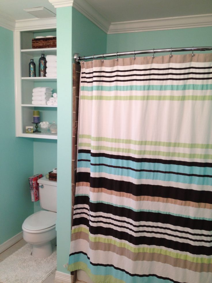 Bathroom redo  Sherwin Williams Waterfall Kate Spade Shower Curtain open shel  – Bathroom Redos