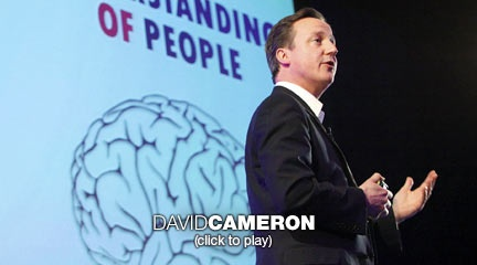 David Cameron: The next age of government  The leader of Britain's Conservative Party says we're entering a new era -- where governments themselves have less power (and less money) and people empowered by technology have more. Tapping into new ideas on behavioral economics, he explores how these trends could be turned into smarter policy.