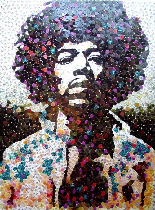 Ed Chapman (English, B. 1971): Portrait of Jimi Hendrix  Made with 5,000 Fender guitar picks.