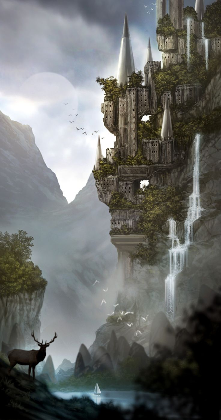 Spiral Castle: Cloudy Moon On the Side of a Mountain Waterfalls in a Ravine A Buck with Antlers Drinks Boat Sails Birds Fly