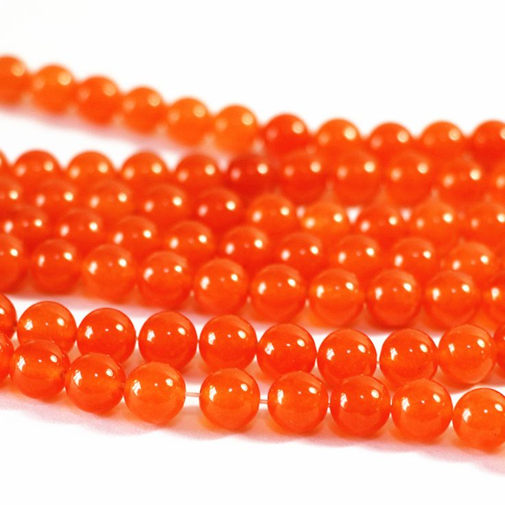 Hot sale orange stone jades 4mm 6mm 8mm 10mm 12mm 14mm chalcedony natural stone loose round beads diy jewelry 15inch B30 #Affiliate