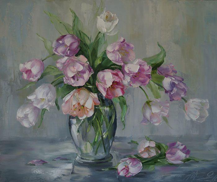 """Tulips"" by Russian artist, Oksana Kravchenko (1971) Russia, Novouralsk"