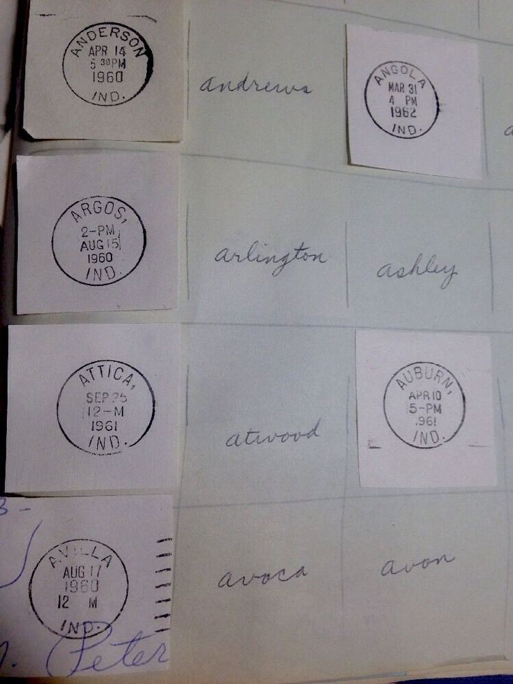 """UNIQUE """"OFFICIAL"""" DATE STAMPS POSTAL MAIL SEAL INDIANA CITIES A To Z Collection"""