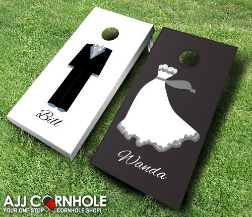 This top of the line custom Bride and Groom Cornhole set is sure to bring life to your wedding reception! Get yours at www.ajjcornhole.com