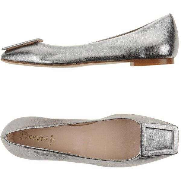 Bagatt Ballet Flats ($105) ❤ liked on Polyvore featuring shoes, flats, silver, square-toe ballet flats, flat ballet pumps, ballet shoes flats, square toe shoes and leather shoes