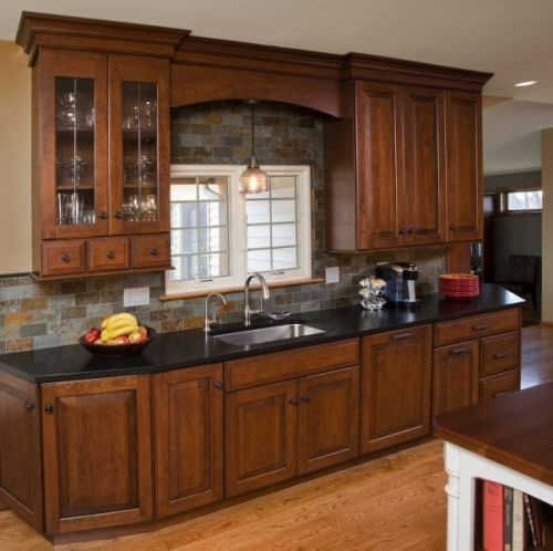 Kitchen Renovations Dark Cabinets: Leaded Glass Apothecary Cabinet, Full Height Cabinetry, Natural Clefted Slate Backsplash, And