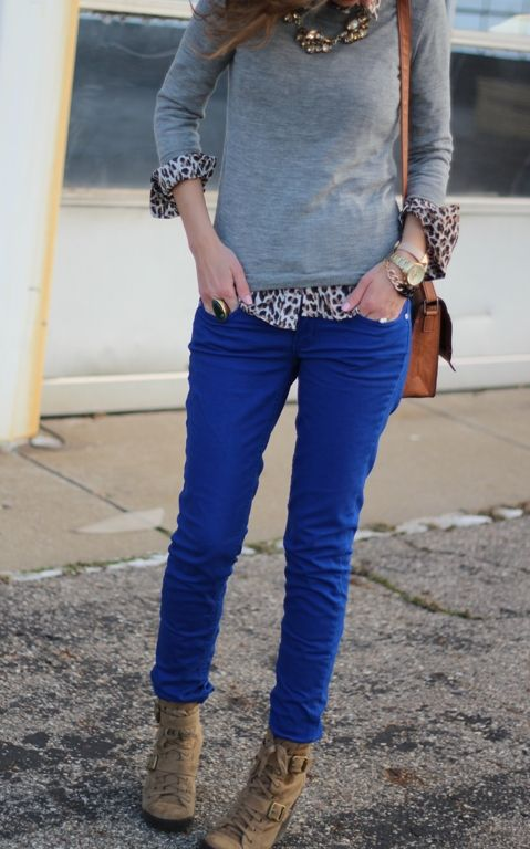 Royal Blue Skinny Jeans, Leopard Top, Gray Sweater