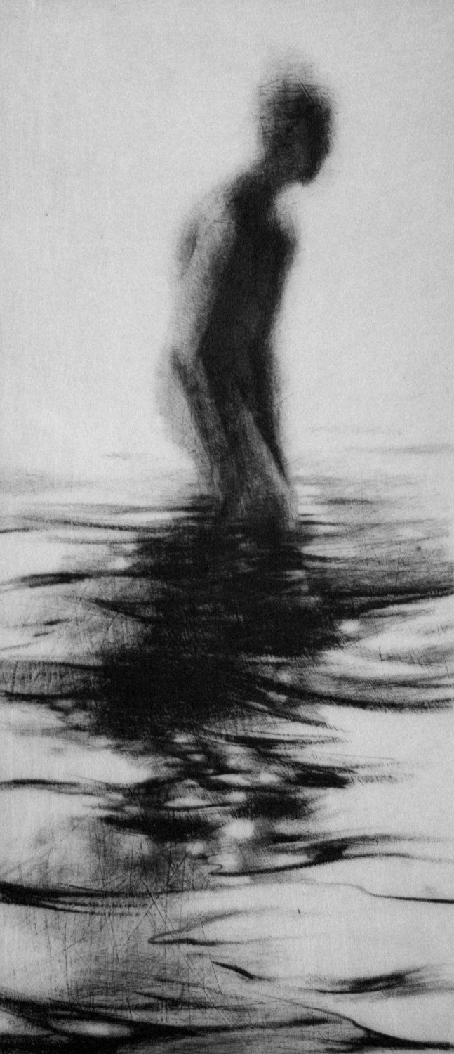 Haunting Figure Drawing Gothic Moody Dark Shadow Crayon Wading Water Fog Fine Art Wander III.