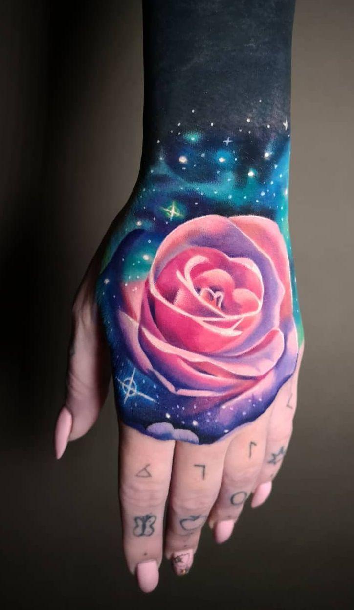 Galaxy Rose Tattoo C Tattoo Artist Mloody Pink Tattoo Watercolor Rose Tattoos Rose Tattoo Design