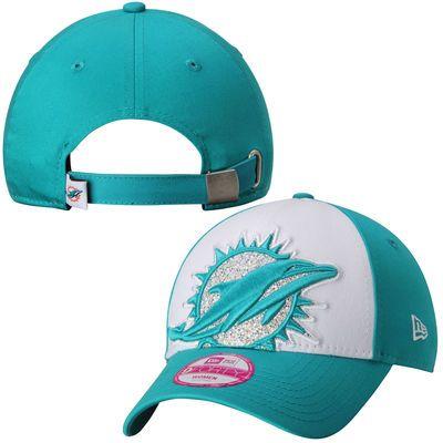 Women's New Era White Miami Dolphins Glitter Glam 9FORTY Adjustable Hat