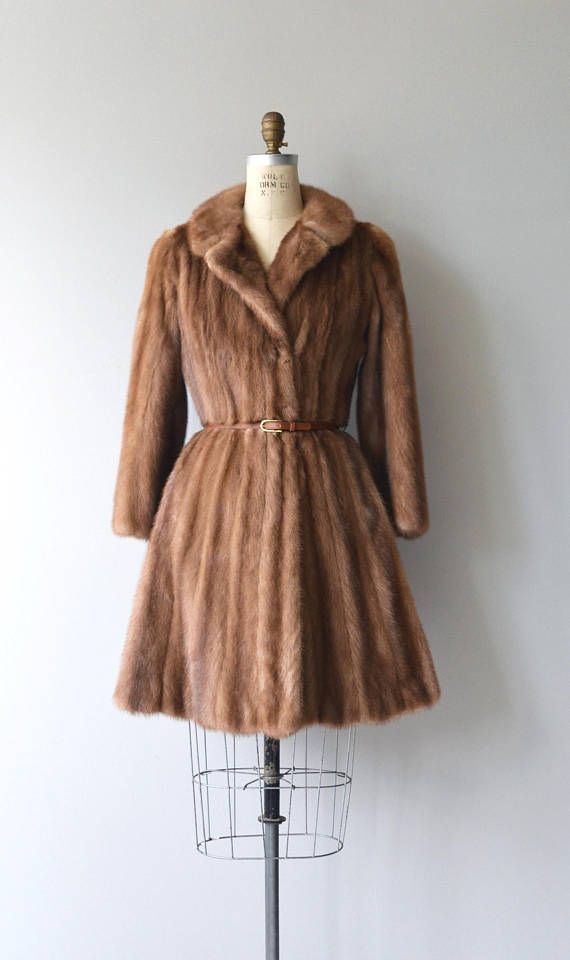 Vintage 1950s unique autumn haze mink coat with princess shape, hidden closures, hidden hip pockets, taupe silk lining with embroidery and leather belt. --- M E A S U R E M E N T S --- fits like: small/medium shoulder: 18 bust: 34-38 waist: up to 33 hip: 44 sleeve: 20 length: 37