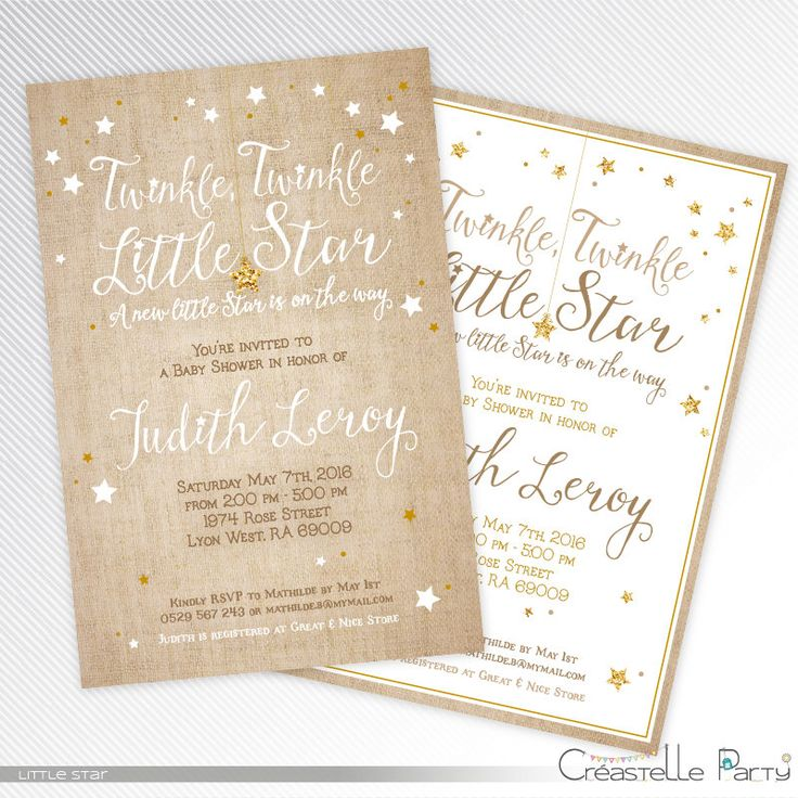 Burlap and gold glitter Twinkle, twinkle, little star baby shower printable invitation by CreastelleParty on Etsy https://www.etsy.com/listing/265262928/burlap-and-gold-glitter-twinkle-twinkle