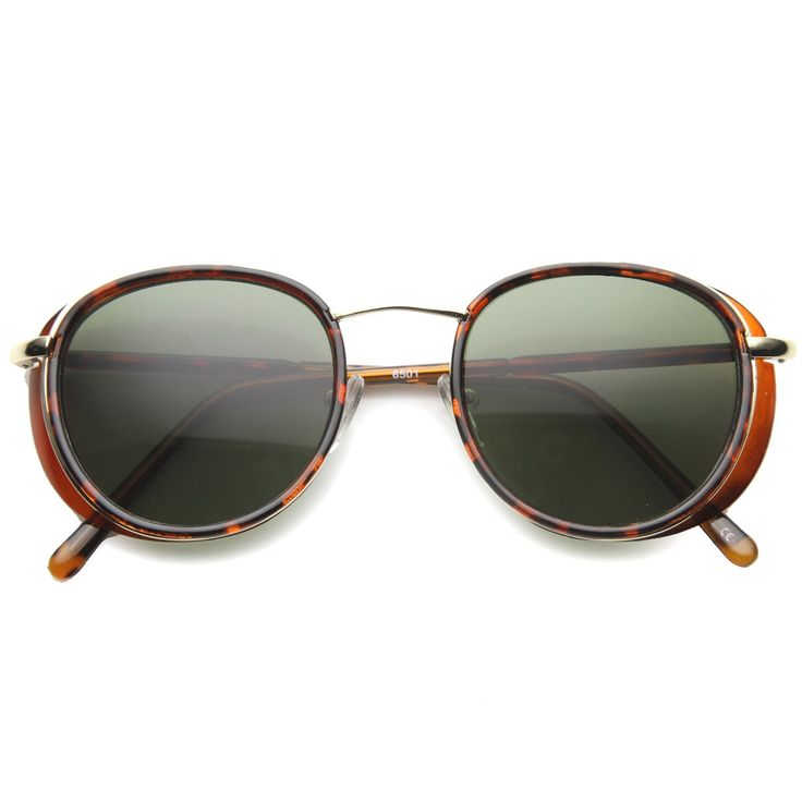 Modified retro P3 horned rim sunglasses that features a round frame with unique rigid curvature on the top of the frame and elegant rivets along the temples. Perfect for a subtle stylish retro look th