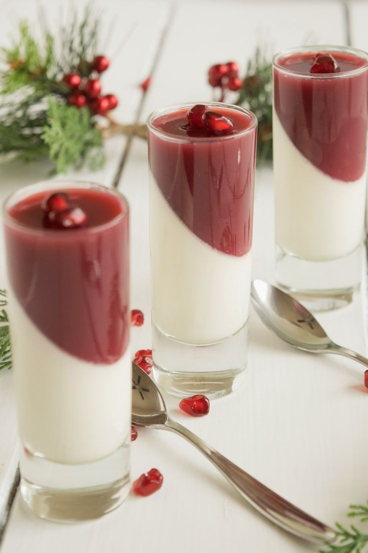 Pomegranate panna cotta. Orange infused panna cotta with a layer of pomegranate juice topping. A delicious Christmas or Thanksgiving dessert.