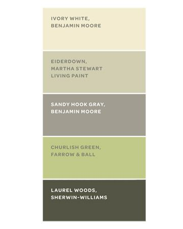 "Really liking this right now. ""The home's color scheme was inspired by the woods outside. These paints are similar to the ones the owner used. Ivory White is a fail-safe trim color. Eiderdown, in the guesthouse common room, reflects the surrounding trees. Sandy Hook Gray, on the porch wall, bridges the interior and exterior. Churlish Green gives the living room a spring feel. Laurel Woods, on the porch furniture, is a softer alternative to black."""