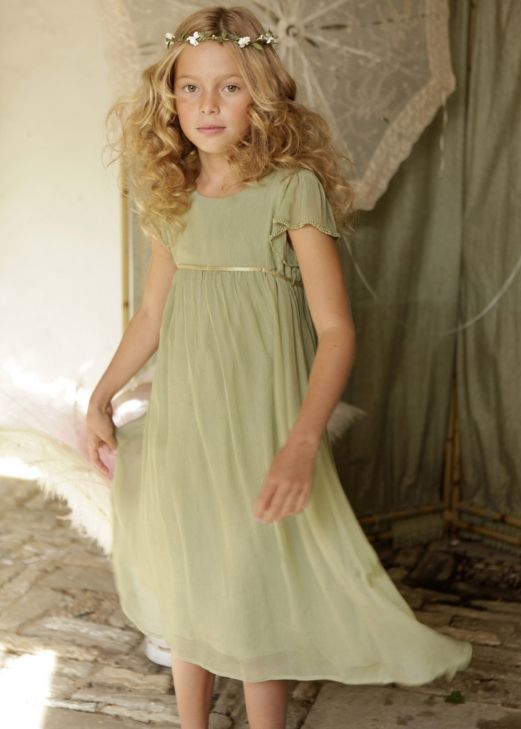 Sage green silk chiffon flower girl dress