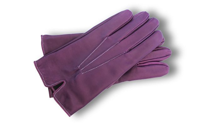 Men's coloured leather gloves - fitted straight cut - Ultra Violet