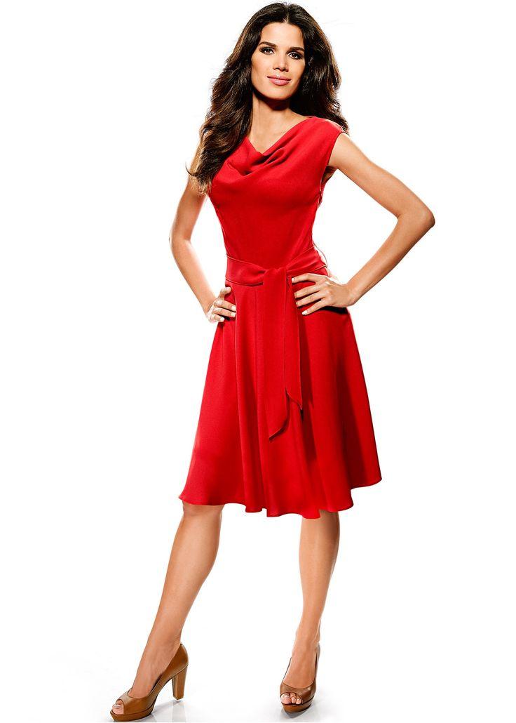 Vestido evasê de gola cascata com cinto em tecido vermelho encomendar agora na loja on-line bonprix.de  R$ 129,00 a partir de Vestido elegante em georgette ...