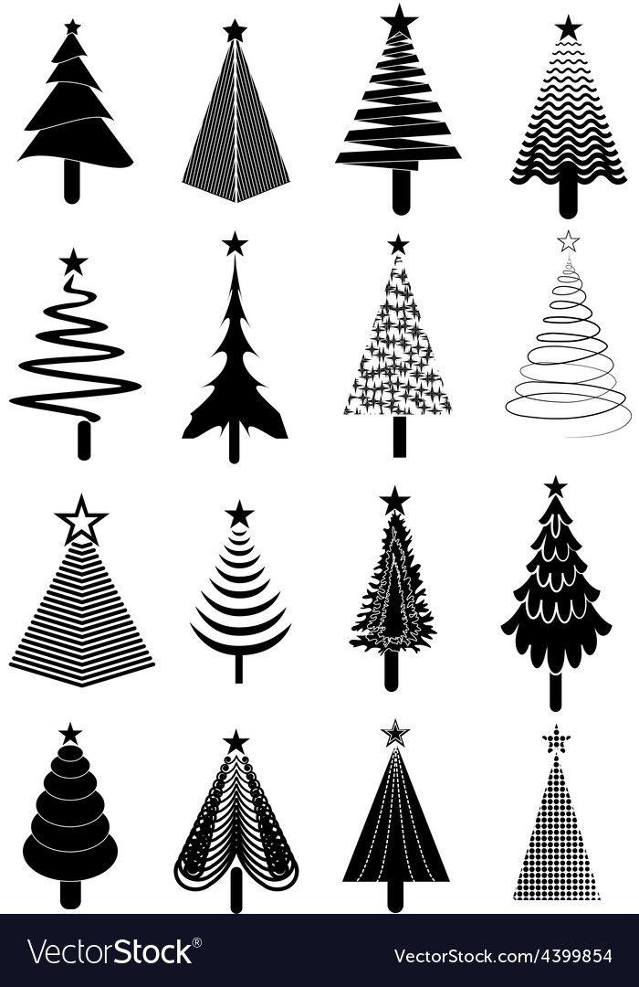 Christmas Tree Icons Set Vector Image On Vectorstock Black Christmas Trees Christmas Tree Tumblr Christmas Tree Drawing