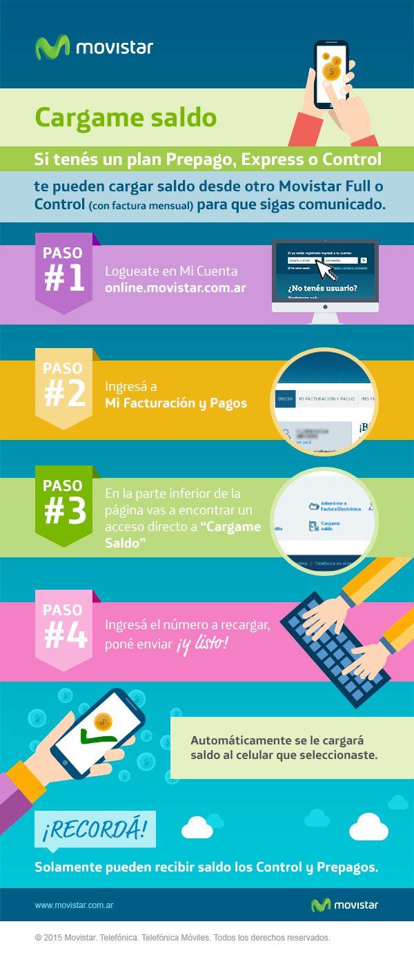 Si tenés un plan Prepago, Express o Control, te pueden cargar saldo desde otro Movistar Full o Control. Sólo tenés que ingresar a http://online.movistar.com.ar/?utm_source=pinterest&utm_medium=social_media&utm_content=cargamesaldo&utm_campaign=contenidos y seguir los pasos. Para otras consultas, accedé a http://www.movistar.com.ar/atencion-al-cliente?utm_source=pinterest&utm_medium=social_media&utm_content=cargamesaldo&utm_campaign=contenidos #AtenciónAlCliente - #CargarSaldo…