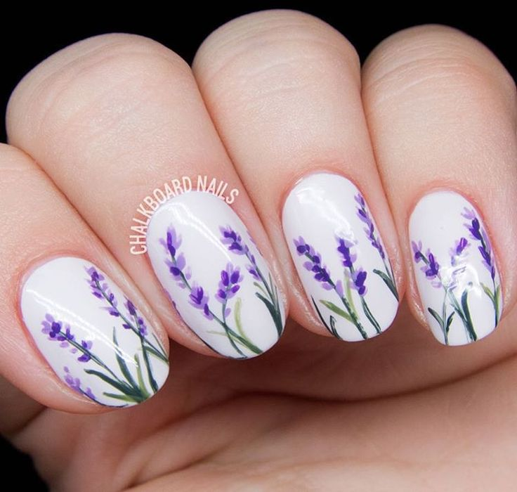 """""""Delicate lavender blossoms  These are super easy to do - head over to chalkboardnails.com where I discuss the (minimal) process for more info. #31dc2015…"""""""