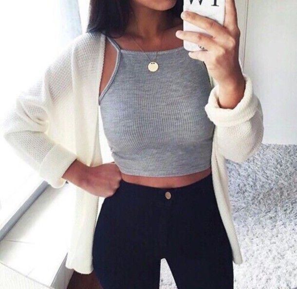 grey tumblr tumblr outfit crop tops grey crop top cardigan jeans outfit body goals