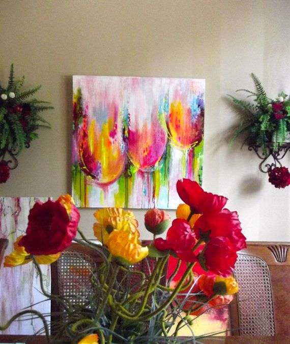 Tulipanes Resumen gran paisaje moderno Impasto espeso textura espátula pintura ORIGINAL de Lana Yurinova-Moes  Nombre de la pintura: Tulip-Mania #