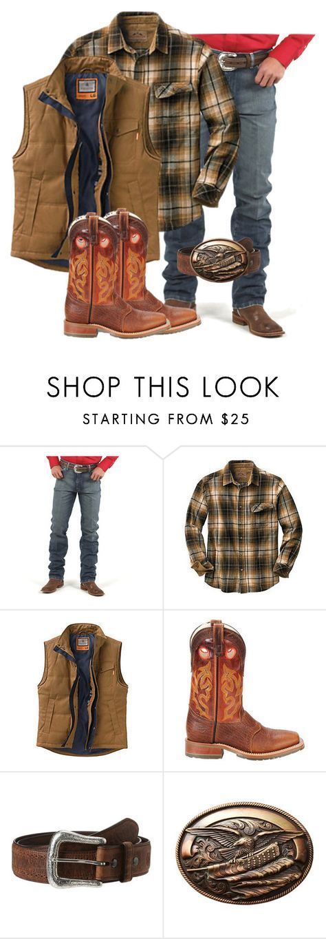 """Men's Flannel"" by muddyramcowgirl ❤ liked on Polyvore featuring Wrangler, Double-H Boots, Ariat, M&F Western, country, men's fashion and menswear"