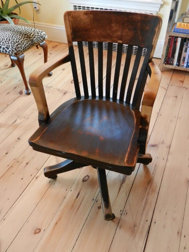 Old Vintage Wooden Industrial Or Office Desk Armchair With Casters