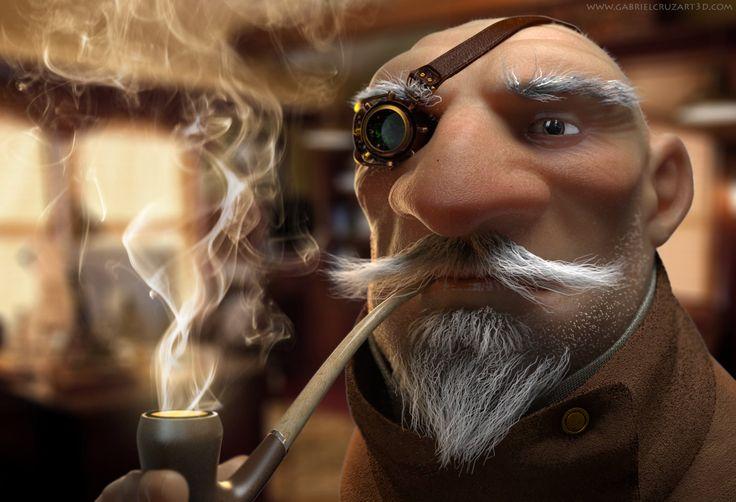 Steampunk Old man, Gabriel Cruz on ArtStation at https://www.artstation.com/artwork/steampunk-old-man