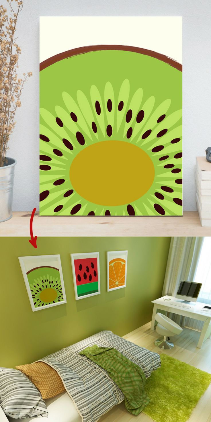 The sweet kiwi art print will be a bright accent any kitchen, dining room or child's room. From $17 + FREE SHIPPING WORLDWIDE from U.S.