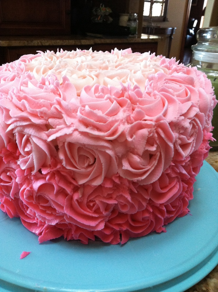 Hot pink ombre frosted flower cake! Delish! | Cakes ...