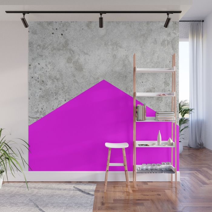 Concrete Arrow Neon Purple 728 Wall Mural By Natural Collective Co Geometric Concrete Wall Tapestry Living Room Wall Decals For Bedroom Wall Color