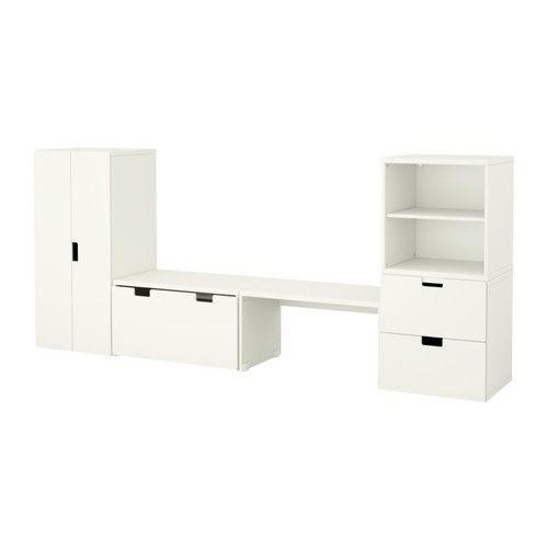 STUVA Storage combination with bench - white/white - IKEA