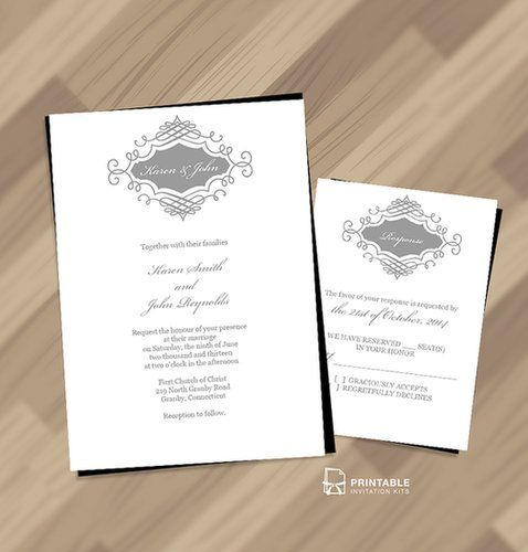 The perfect monogram wedding invites for an elegant wedding. Source: Printable Invitation Kits