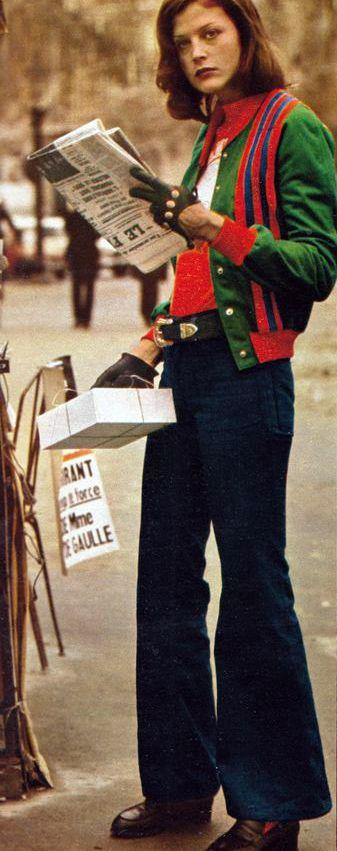 Marie Claire 1972, Photo by Arthur Elgort casual screen wear jeans sportswear jacket scarf 70s blue green red