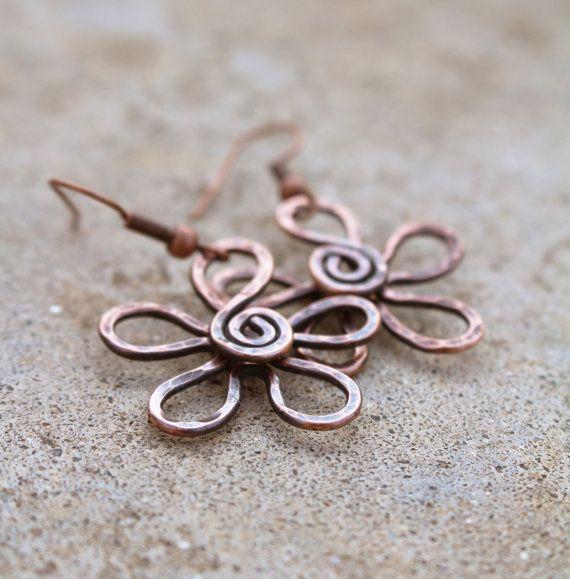Copper Flower Earrings Textured Oxidized by Karismabykarajewelry